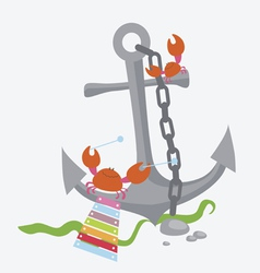 Anchor with crabs vector