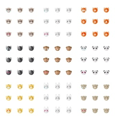 Minimalistic flat animal emoticons vector