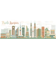 Abstract kuala lumpur skyline with color buildings vector