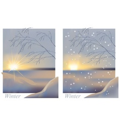 Winter sunrise snowing vector