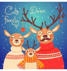 Christmas reindeer family cute card with deer is vector