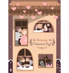 House full of couples in love vector