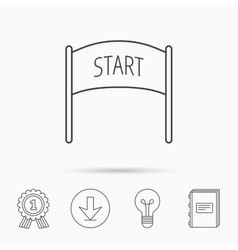 Start banner icon marathon checkpoint sign vector