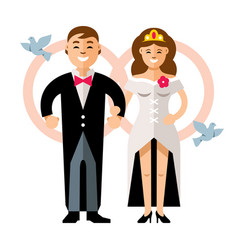 Beautiful young bride and groom couple vector