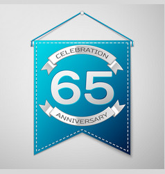 blue pennant with inscription sixty five years vector image