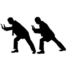 Businessmen silhouettes pushing vector