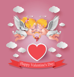 Cute boy and girl cupids vector