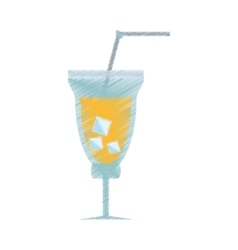 Drawing cocktail fresh drink straw ice vector
