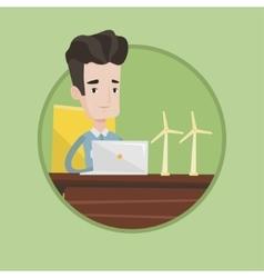 Engineer working with model of wind turbines vector