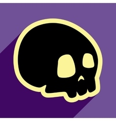 Flat with shadow icon and mobile application skull vector