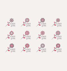 flower store emblems set vector image vector image