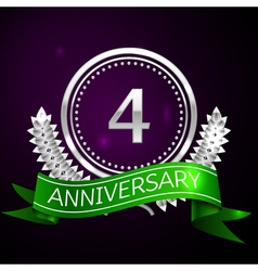 Four years anniversary celebration with silver vector image vector image