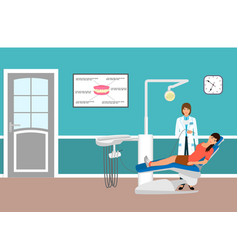Medical doctor and patient on armchair in vector
