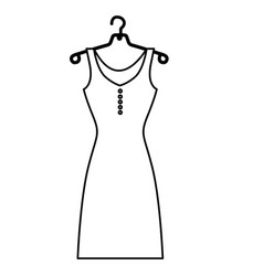 monochrome contour of female dress in hanger vector image vector image