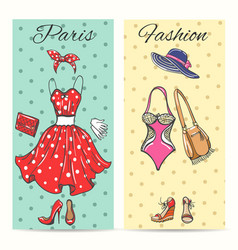 Paris fashion clothes cards vector