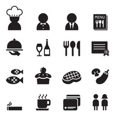 Restaurant coffee shop icon set vector