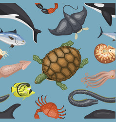 Sea animals tropical character vector