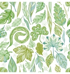 Seamless pattern with green leaves EPS10 vector image vector image