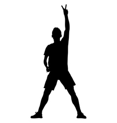 Silhouette man with his hand raised in the form of vector image