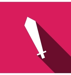 sword icon with long shadow vector image vector image