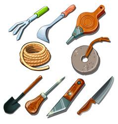 tools for gardener carpenter and repairman vector image
