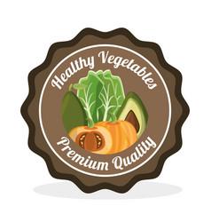 Vegetables premium quality label vector