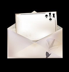 White envelope and retro card vector