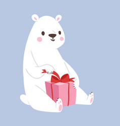 white polar bear animal and gift box cute vector image