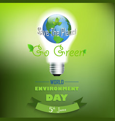 world environment day background with concept bulb vector image vector image
