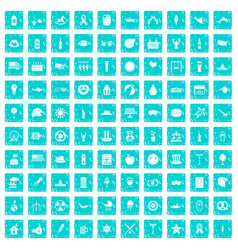 100 summer holidays icons set grunge blue vector image vector image