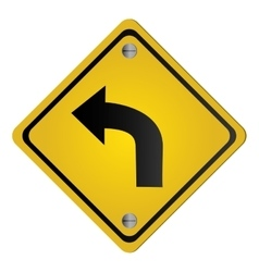 Left curve ahead traffic sign icon vector