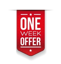 One week offer red ribbon vector