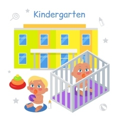 Kindergarten in flat vector