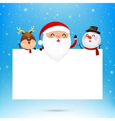 Merry christmas santa claus cartoon and blank vector