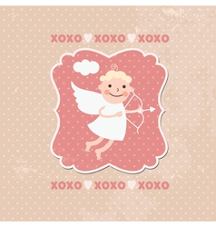 Valentines card cute angels or cupids vector