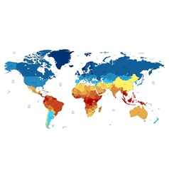 Blue and red detailed World map vector image