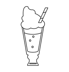 glass cup drink cream glace straw fresh thin line vector image
