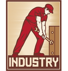 Worker holding wrench - industry poster vector