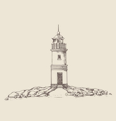 Tokarevskiy lighthouse in vladivostok vector