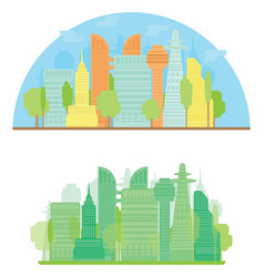 colorful city silhouette and green city in flat vector image