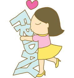 Girl hugs and kisses friday word vector