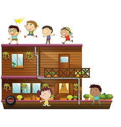 Children and boat vector