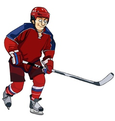 Cartoon hockey player in the red form with a stick vector