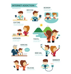 Internet and smartphone addiction vector