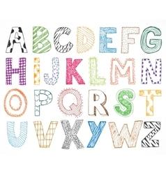 Children kids letter hand drawn cartoon alphabet vector