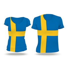 Flag shirt design of sweden vector
