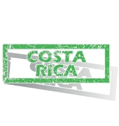 Green outlined costa rica stamp vector