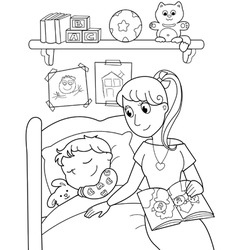 Child at bed with mom vector