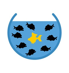 Goldfish and piranha in aquarium evil ocean vector