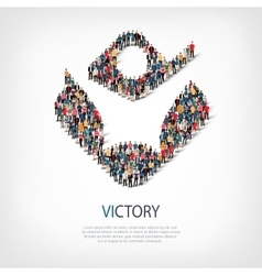 Victory people sign 3d vector